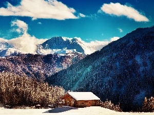 house, Mountains, winter
