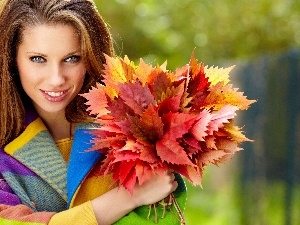Women, bouquet, Leaf, autumn