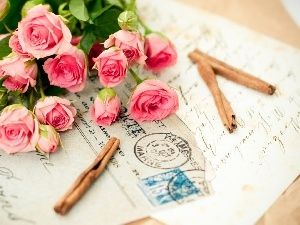 list, bouquet, roses