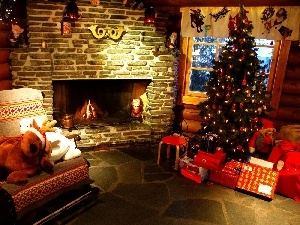 christmas tree, burner chimney, mascot, gifts