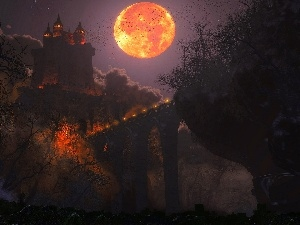 moon, Night, Castle