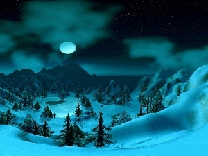 viewes, winter, moon, Night, Mountains, trees