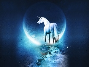 moon, unicorn, Way