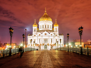 bridge, lanterns, Moscow, Cathedral of Christ the Savior, Russia