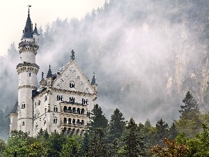 clouds, Neuschwanstein Castle, Mountains