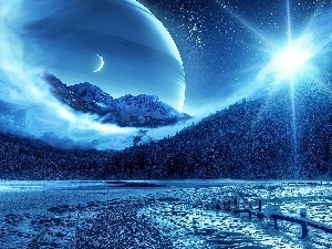 Mountains, Planets, land, sun, fantasy