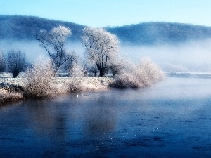 viewes, River, Mountains, winter, Fog, trees
