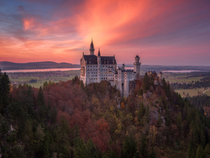 Neuschwanstein Castle, forest, Great Sunsets, trees, clouds, Bavaria, Germany, viewes
