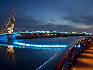 bridge, light, Night, color