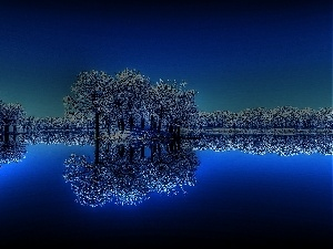 reflection, lake, Night, trees