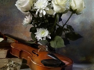old, Books, flowers, violin, bouquet