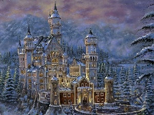 Castle, winter, picture, Neuschwanstein