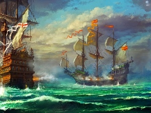sailboats, battle, picture, sea