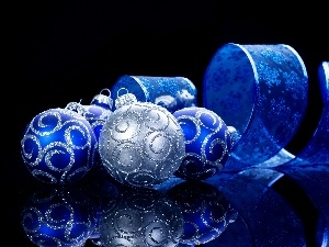 Blue, Christmas, reflection, baubles