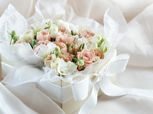 ribbon, Box, roses, White, bouquet