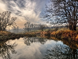River, clouds, trees, viewes, autumn