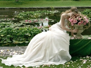 roses, lady, lilies, water, Pond - car, young