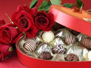 roses, Chocolates, package