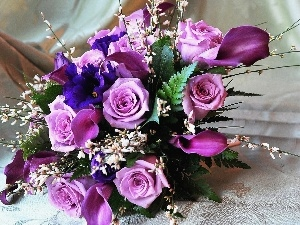 rouge, bouquet, violet