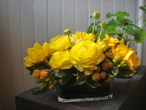 rouge, bouquet, yellow
