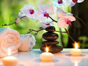 Stones, orchids, Spa, composition, Towels, Candles