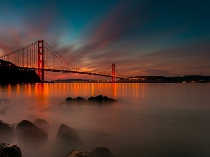 San Francisco, west, sun, bridge