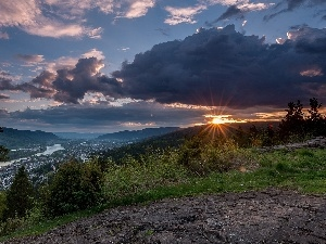 trees, Norway, clouds, Mountains, Drammen, viewes, Great Sunsets
