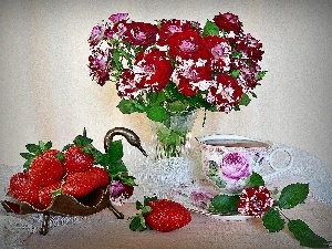 bouquet, strawberries, tea, rouge