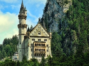 Castle, rocks, Mountains, Neuschwanstein