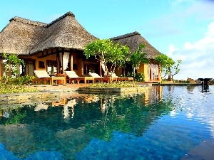 Tropical, holiday, Pool, deck chair, Hotel hall