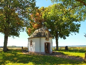 autumn, trees, viewes, chapel