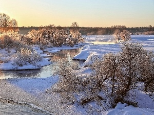 River, trees, viewes, snow