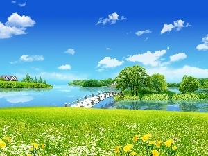 lake, Meadow, viewes, Spring, trees, bridges