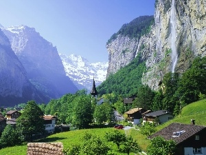 trees, waterfall, Lauterbrunnen, Houses, Mountains, viewes, Switzerland