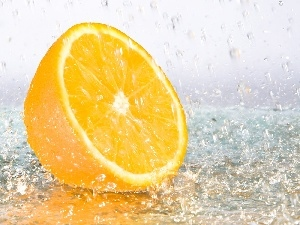 water, orange, drops