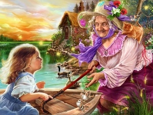 water, Home, grandmother, animals, Kid