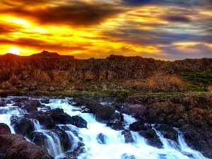 west, rocks, waterfall, sun
