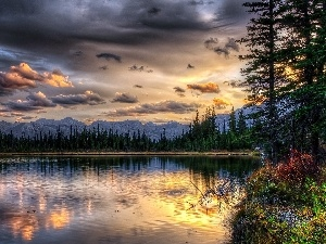west, sun, Mountains, woods, lake