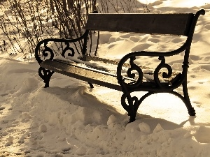 Bench, snow, winter, ##