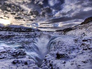 clouds, waterfall, winter, Mountains