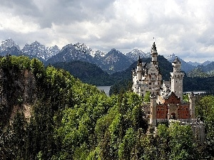 Castle, Mountains, woods, Neuschwanstein