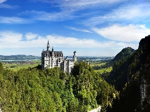 woods, Germany, Neuschwanstein, Mountains, Castle